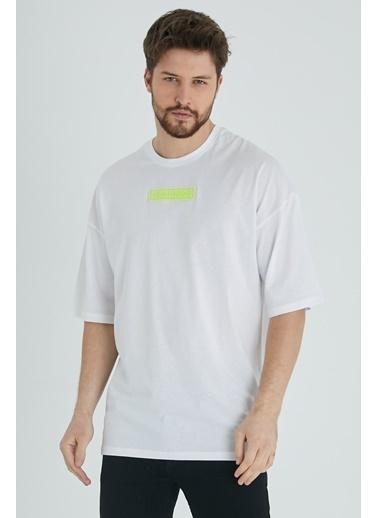 XHAN Sarı Baskılı Oversize T-Shirt 1Kxe1-44677-10 Beyaz